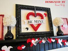 Valentine's Day: Red, Black, and White Valentine's Day Mantel Decor