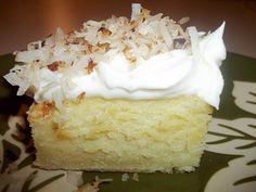 This is my daughters favorite cake of all cakes. The first time I made it she said I never had to make any other type cakes...this one suited her just fine... I like the dense texture, together with the creaminess of the cream cheese frosting, and the crunchiness of the toasted coconut. I hope you enjoy this delicious cake! IF YOU DON'T LIKE DENSE CAKES, THIS IS NOT THE CAKE FOR YOU.