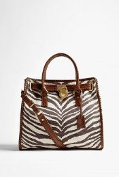 Zebra printed canvas tote by Michael Kors