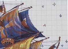 схема вышивки для большой крупной картины, сложная вышивка, схема вышивки крестом, парусник, корабль с парусами, ночь, море, схема