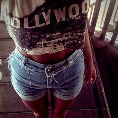 Hollywood. Graphic Tee. Crop top. High waisted. Jean shorts.