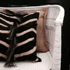 Zebra hide cushion  by Harolds Curiousity Cabinet