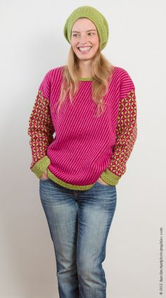 Colorful Sweater Knitted Pink Red Green Unique by LatitudeLaine, €95.00
