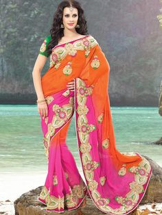 Take your fashion quotient to the next with this saree. This green, pink & orange georgette saree is perfect wear for any party or occasion. This saree is well crafted with Stone work all over. So thinking is just a waste of time. grab this saree instantly and flaunt yourself perfectly. (Slight variation in color is possible) http://www.kalazone.in