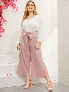 To find out about the Plus Wide Leg Split Side Pants at SHEIN, part of our latest Plus Size Pants ready to shop online today! Fashion News, Boho Fashion, Type Of Pants, Plus Size Pants, Loose Pants, Pink Patterns, Lingerie Sleepwear, Spring Summer Fashion, Wide Leg