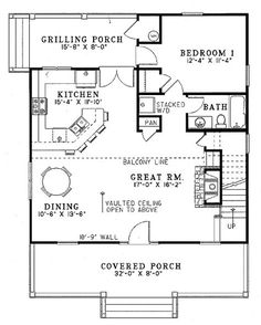 Farmhouse Style House Plan - 2 Beds 2 Baths 1400 Sq/Ft Plan #17-2019 Floor Plan - Main Floor Plan - Houseplans.com