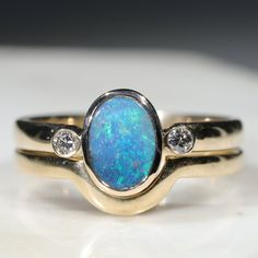 Natural Australian Solid Opal & Diamond Gold Engagement and Wedding Ring Set-  Size 7 Code- DWB4 Opal Wedding Ring Set, Wedding Band Sets, Diamond Wedding Rings, Gold Ring Designs, Gold Engagement Rings, Opal Jewelry, Natural Diamonds, Party Lights