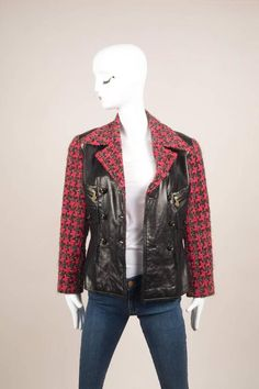 Chanel Black Pink Leather Tweed Double Breasted Jacket