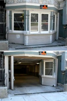 Secret entrance to garage. This is pretty neat. It looks like just a regular part of the house. I'd do it a bit different but great idea! Hidden Spaces, Hidden Rooms, Garage House, Garage Doors, Passage Secret, Future House, My House, Cool Garages, Secret Compartment