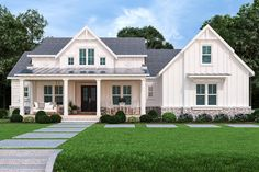 This modern farmhouse plan is all about efficiency and style. Check out the sweet front porch. Questions? Call 1-800-447-0027 today. #architect #architecture #buildingdesign #homedesign #residence #homesweethome #dreamhome #newhome #newhouse #foreverhome #interiors #archdaily #modern #farmhouse #house #lifestyle #design #buildersareessential Modern Farmhouse Plans, Farmhouse Homes, Farmhouse Style, Farmhouse Addition, Farmhouse Design, One Story Homes, 1 Story House, Master Suite, Master Closet