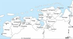 Rond 1300. Overzicht van de vele kleine heerloze landjes, in feite republiekjes waarin het Friese gebied tussen Zuiderzee en Wezer in de tijd van de Friese vrijheid uiteen is gevallen. Er is overigens wel enige tijd een soort van confederatie geweest, bekend als het verbond van de Opstalsboom.