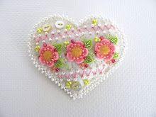 pink and orange flowered felt heart
