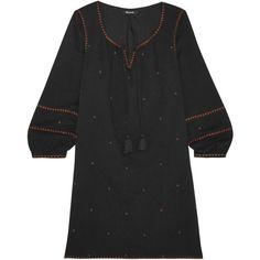 MadewellKristen Metallic Embroidered Woven Mini Dress (£145) via Polyvore featuring dresses, black, embroidery dress, madewell, metallic mini dress, boho mini dress and embroidered dresses