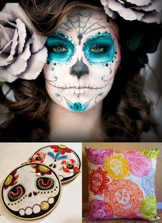 Teal and grey. Jewels at ends of curls and  chin design for Sue? El Dia De Los Muertos makeup, one of my favorite things to do!