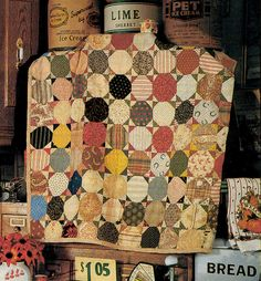 antique scrappy snowball quilt
