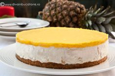 CHEESECAKE CU ANANAS | Diva in bucatarie Raw Vegan Recipes, Cheesecakes, Cake Cookies, Delicious Desserts, Goodies, Food And Drink, Baking, Lasagna, Organize