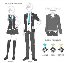 Uniforms by shokusen-admin on DeviantArt Anime Uniform, Manga Clothes, Drawing Anime Clothes, Fashion Design Drawings, Fashion Sketches, Academy Uniforms, Clothing Sketches, Anime Dress, Uniform Design