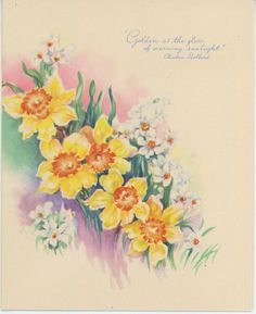 VINTAGE 1950's GARDEN FLOWERS YELLOW WHITE DAFFODILS NARCISSUS POEM CARD PRINT in Collectibles, Paper, Other Paper Collectibles   eBay