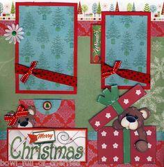 Merry Christmas 2 Premade Scrapbook Pages 4 Album Paper Piecing 12x12 Cherry | eBay