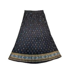 f41cc0444e1af Golden Block Print Blue Bohemian Crinkled Ladies Long Skirt for Womens  (Apparel) http