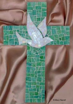 Ning Nang would have loved this!! mosaic cross with dove