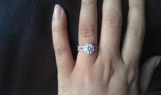 hand shot of my amazing ring. Wedding bands fit perfectly on ...