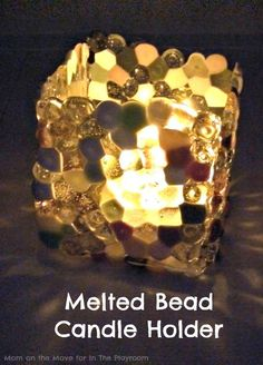 Melted Bead Candle Holder - In The Playroom Plastic Beads Melted, Melted Pony Beads, Plastic Art, Shrink Plastic, Plastic Jewelry, Bead Jewelry, Plastic Canvas, Melted Bead Crafts, Pony Bead Crafts