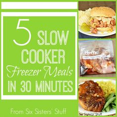 5 Slow Cooker Freezer Meals in 30 Minutes: Ham & Pineapple sandwiches, Stick chicken, Mandarin Chicken, Orange Chicken, Citrus Onion pulled pork Slow Cooker Freezer Meals, Make Ahead Freezer Meals, Crock Pot Freezer, Crock Pot Slow Cooker, Freezer Cooking, Slow Cooker Recipes, Crockpot Recipes, Cooking Recipes, Freezer Recipes