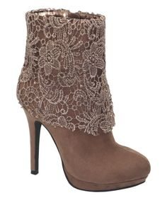 17044b3552a Weeboo Taupe Lace Cora Bootie