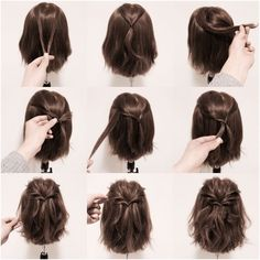 Hair Easy Hairstyles For Short Hair, Short Bob Updo, Diy Short Hair, How To Style Short Hair, Style A Lob, Hairstyles For Medium Length Hair Tutorial, Ponytails For Short Hair, Medium Hair Updo Easy, Short Hair Tutorials