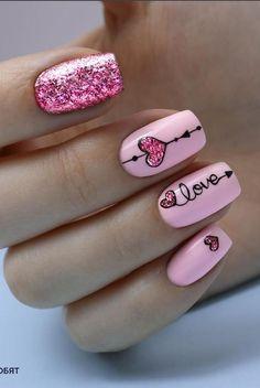 Pink Nails, Gel Nails, Acrylic Nails, Toenails, Nail Art Coeur, Nail Art Saint-valentin, Valentine Nail Art, Saint Valentine, Valentine Ideas