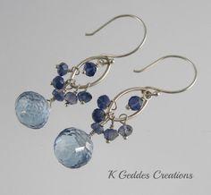 Mystic Blue Quartz Earrings Sterling Silver by KGeddesCreations, $42.00