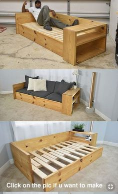 Sofa cama madera Diy Pallet Furniture, Diy Pallet Projects, Furniture Projects, Pallet Ideas, Wood Crafts Furniture, Wood Pallet Crafts, Handmade Wood Furniture, Diy Furniture Couch, Furniture Dolly