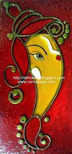 Varnaalaya: Ganesha Cute Canvas Paintings, Oil Pastel Paintings, Canvas Painting Tutorials, Indian Art Paintings, Diy Canvas Art, Lord Ganesha Paintings, Ganesha Art, Ganesha Drawing, Shri Ganesh