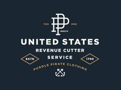 New shirt design for Puddle Pirate. The theme of the shirt represents the United States Revenue Cutter Service which was essentially the Coast Guard before the Coast Guard. Typography Letters, Typography Logo, Graphic Design Typography, Lettering, Logos, Self Branding, Logo Branding, Branding Design, Compagnie Logo