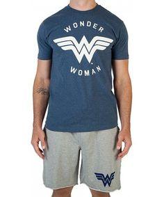 This Blue & Gray Wonder Woman Logo Sleep Set is perfect! #zulilyfinds
