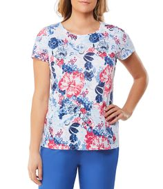 4c2a0787b0407a Shop for Allison Daley Petites Wide Crew Neck Lace Back Detail Floral Print  Tee at Dillards