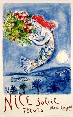 poster - mermaid with flowers - marc chagall 'la baie des anges'