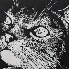 Cat - linocut print - Rowanne Anderson, U.K.