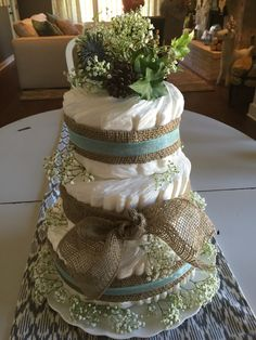 Woodland theme diaper cake