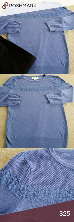 """Elle sweater size xs Lace trim sweater size xs with 16"""" bust and 23"""" length Elle Sweaters Crew & Scoop Necks"""