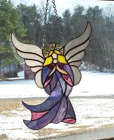 Stained Glass Angel in Purple Dress - Handcrafted in the USA