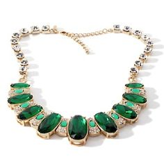"""Universal Vault Emerald-Color Stone and Clear Crystal Goldtone Oval 17"""" Necklace at HSN.com."""