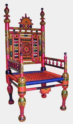 luxuriöse orient Handbemalte Lackware Hochzeit Stuhl Pakistan Wedding chair Punj
