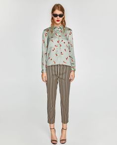 Image 1 of striped trousers from zara style zara outfit, fas Zara Fashion, Fashion Pants, Fashion Outfits, Fashion Tips, Fall Outfits, Zara Outfit, Trousers Women, Pants For Women, Women's Trousers
