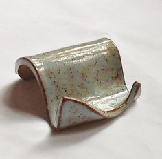 Business Card Holder Stoneware Clay In Pale Blue Shino