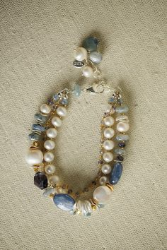 "Anne Vaughan Designs - Seaside 7.5-9"" Multistrand Bracelet, $84.00 (http://www.annevaughandesigns.com/seaside-handmade-gemstone-pearl-gold-multistrand-bracelet-for-women/)"