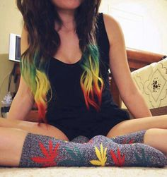 Rasta hair & rasta huf socks.. I want. lol. I love. So doing something sorta like this in the future