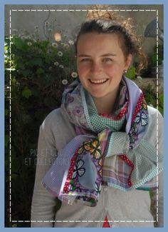 chèche foulard écharpe patchwork 6 couleurs de printemps ! : Echarpe, foulard, cravate par pic-et-clic-et-collectons