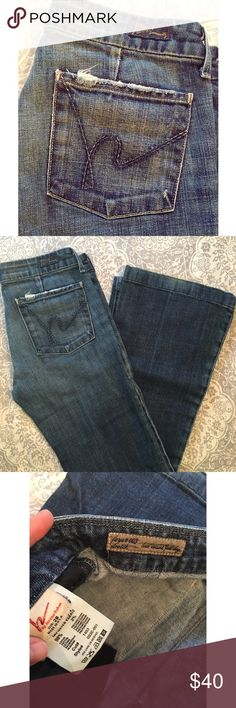 """Citizens of Humanity jeans Citizens of Humanity Faye Stretch low waist full leg jeans. Size 28; 28.5"""" inseam. Distressing along pockets. Great used condition with some wear in back hems. Citizens of Humanity Jeans Flare & Wide Leg"""